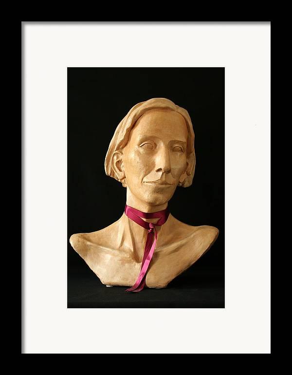 Portrait Sculpture Framed Print featuring the sculpture Katherine by Flow Fitzgerald