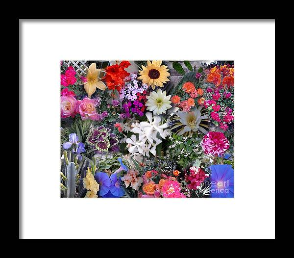 Flowers Framed Print featuring the digital art Kathy's Flowers Collage by Bob Semk