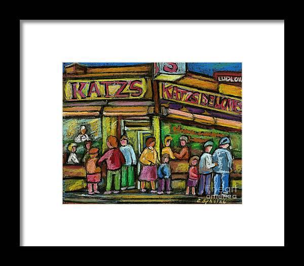 Katz's Deli Framed Print featuring the painting Katz's Deli by Carole Spandau