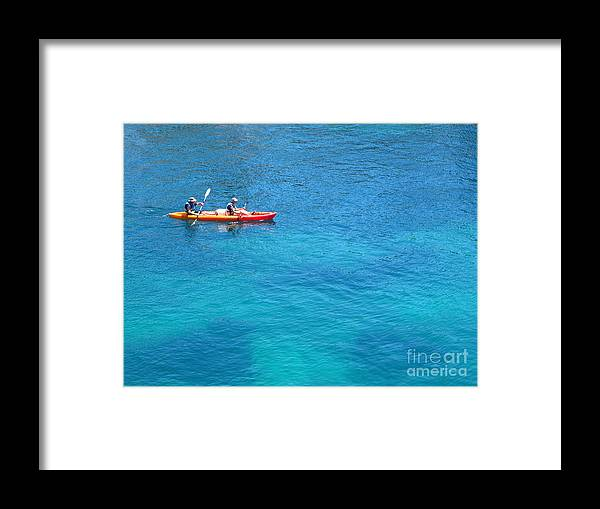 Cassis Framed Print featuring the photograph Kayaking At Calanque De Port Miou In Cassis France by Luis Moya