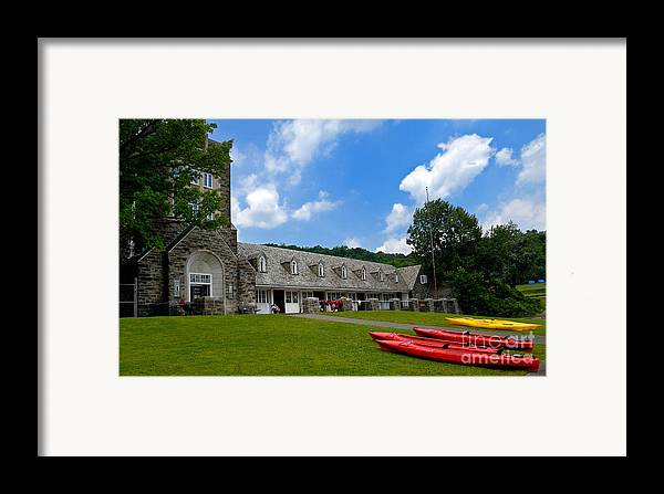 2 Seat Framed Print featuring the photograph Kayaks At Boat House by Amy Cicconi