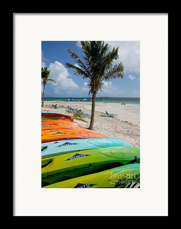 Bahamas Framed Print featuring the photograph Kayaks On The Beach by Amy Cicconi