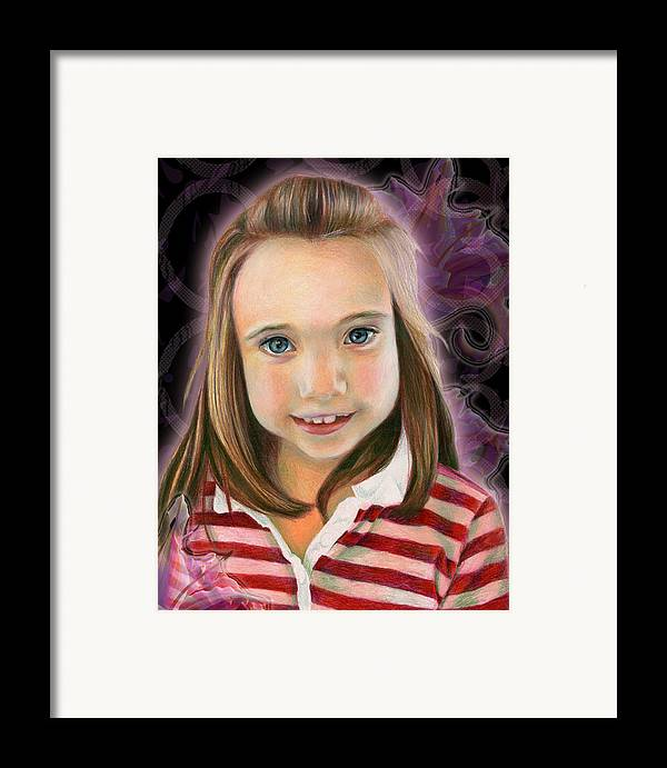 Young Framed Print featuring the drawing Kaylee by Heather Raven Illingworth