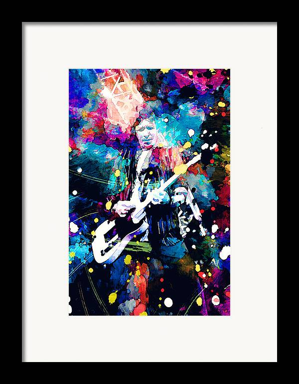 Rolling Stones Framed Print featuring the painting Keith Richards by Rosalina Atanasova