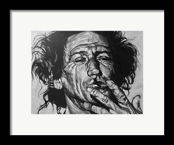 Keith Richards Guitarist Musician Rolling Stones Mick Jagger Black And White Canvas Portrait 60's Framed Print featuring the drawing Keith Richards by Steve Hunter