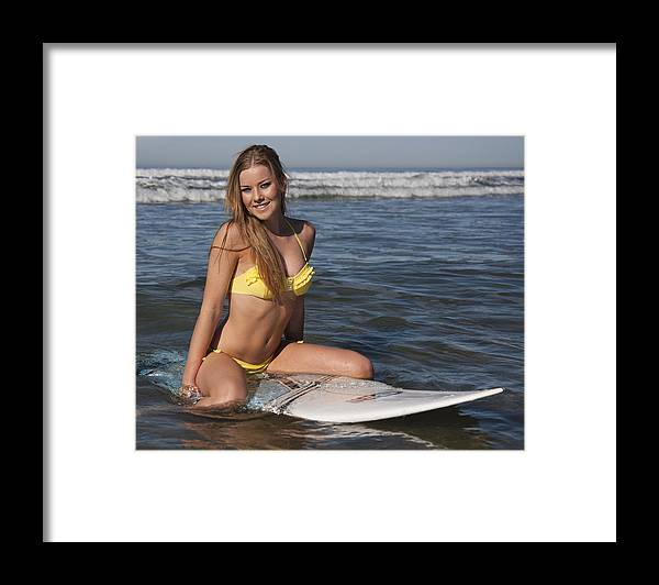 Surfer Framed Print featuring the photograph Kelsi In The Ocean by Nathan Rupert