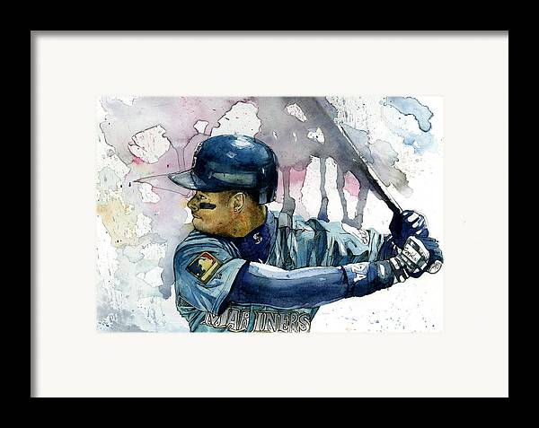Ken Framed Print featuring the painting Ken Griffey Jr. by Michael Pattison
