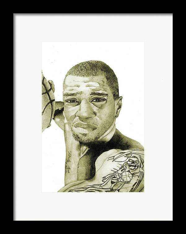 Kenyon Framed Print featuring the painting Kenyon Martin by Michael Pattison