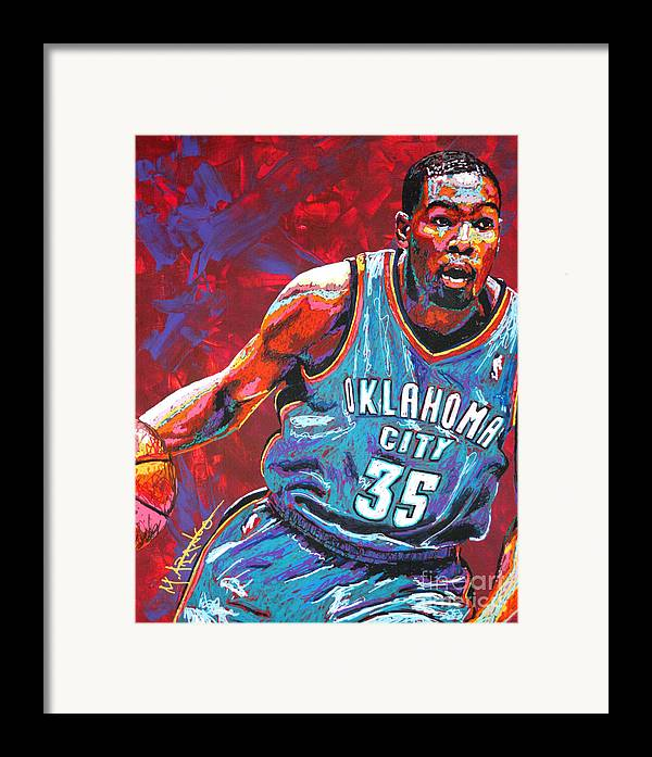 Kevin Framed Print featuring the painting Kevin Durant 2 by Maria Arango