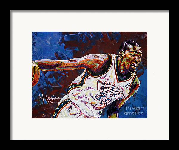 Kevin Framed Print featuring the painting Kevin Durant by Maria Arango