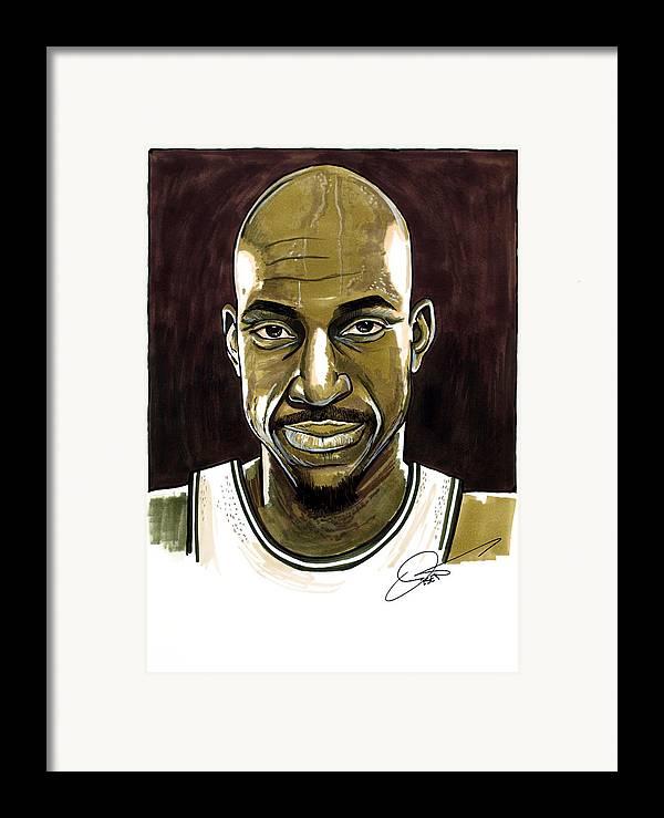 Kevin Garnett Framed Print featuring the drawing Kevin Garnett Portrait by Dave Olsen
