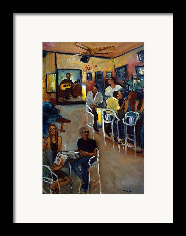 Art Bar Framed Print featuring the painting Kevro's Art Bar by Valerie Vescovi