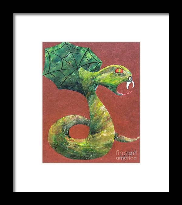 Dark Framed Print featuring the painting Khiel...the Snake by JoNeL Art