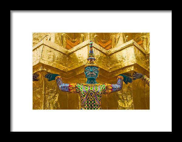 3scape Framed Print featuring the photograph Khon Guard by Adam Romanowicz
