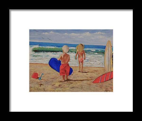 Seascape Framed Print featuring the painting Kids at the Beach by Jim Reale
