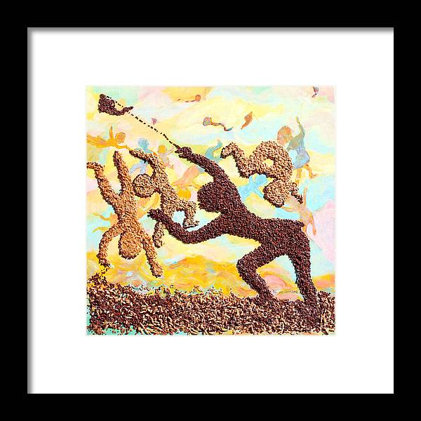 Kids Framed Print featuring the painting Kids kites Kartwheels and Healthy Living by Naomi Gerrard