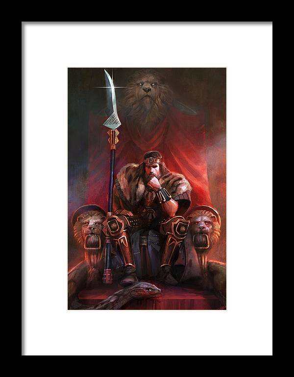 Barbarian Framed Print featuring the digital art King By His Own Hand by Steve Goad