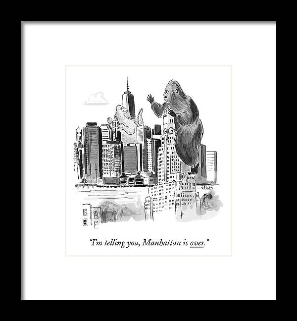 Godzilla Framed Print featuring the drawing King Kong, Atop The Williamsburgh Savings Bank by Emily Flake