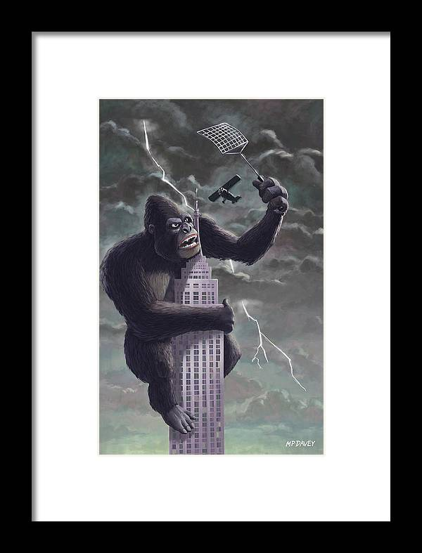 Kong Framed Print featuring the painting King Kong Plane Swatter by Martin Davey