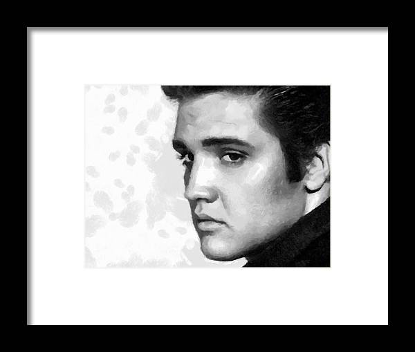Elvis Presley Framed Print featuring the painting King Of Rock Elvis Presley Black And White by Georgi Dimitrov