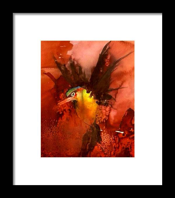 Kingfisher Framed Print featuring the painting Kingfisher by Sharon Lyn Stackpole
