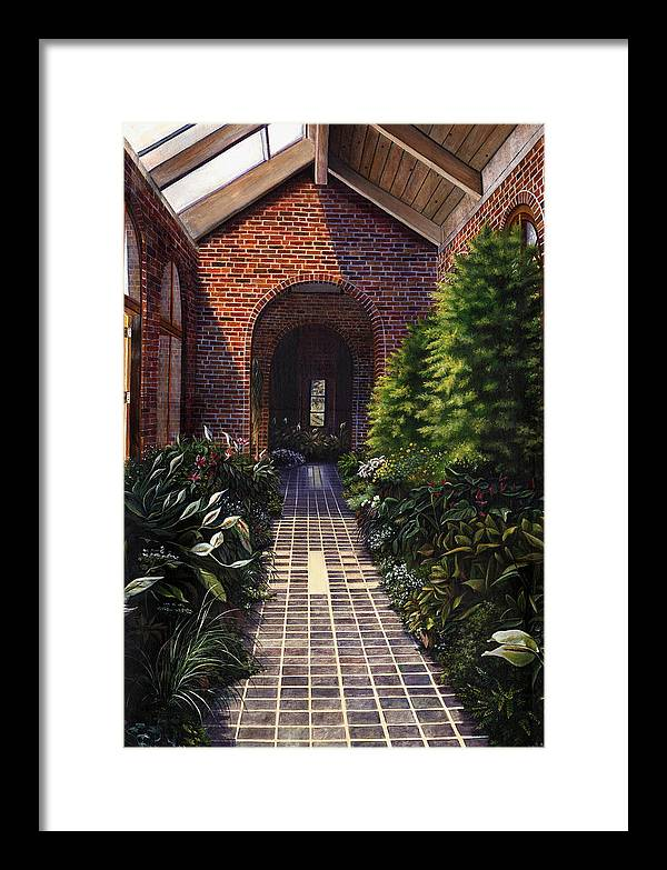 Greenhouse At Kingwood Center In Mansfield Ohio Framed Print featuring the painting Kingwood by Terri Meyer