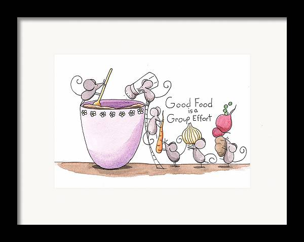Kitchen Framed Print featuring the painting Kitchen Art Cooking Mice by Christy Beckwith