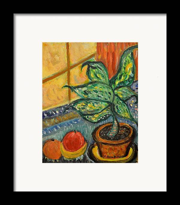 Plant Framed Print featuring the painting Kitchen Company by Louise Burkhardt
