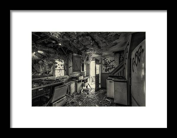Black And White Framed Print featuring the photograph Kitchen In Decay by Christian Peay