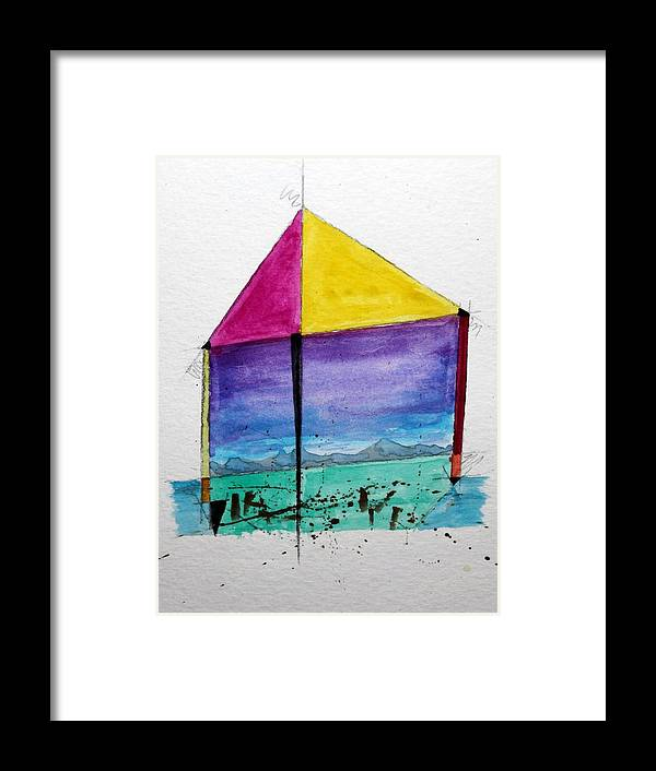 Abstract Framed Print featuring the painting Kite by Craig Kennedy
