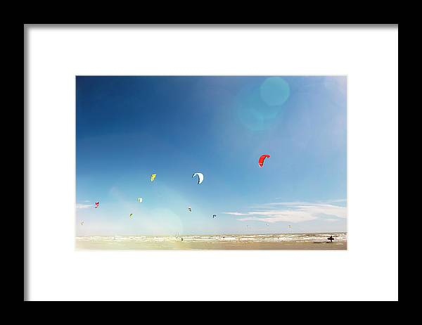 Water's Edge Framed Print featuring the photograph Kite Surfers by Nick David
