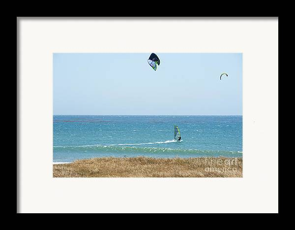 Point Lobos Framed Print featuring the photograph Kite Surfing And Wind Surfing Central Coast San Simeon California by Artist and Photographer Laura Wrede