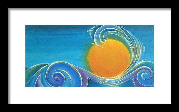 reina Cotter Framed Print featuring the painting Kiwiana Surf Sun by Reina Cottier