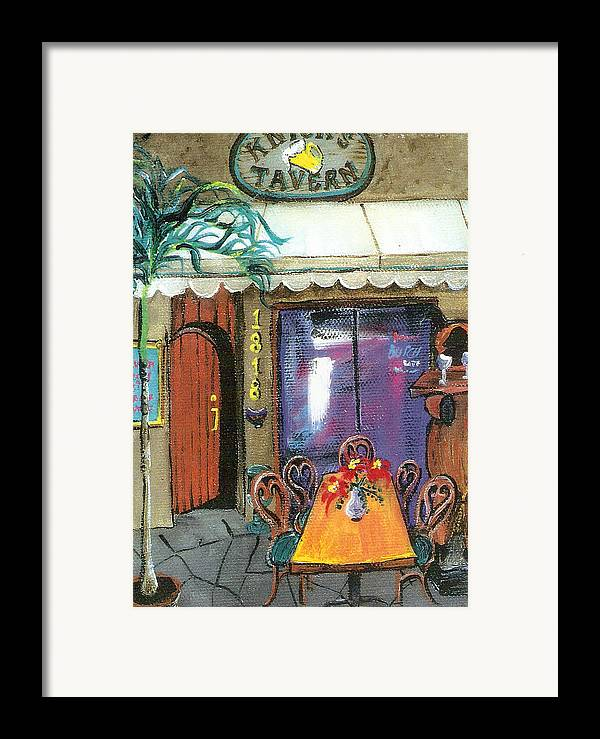 Knicks Framed Print featuring the painting Knicks Tavern by Lyla Mitchell