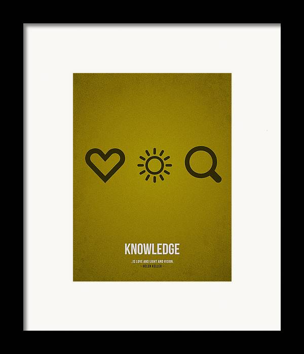 Knowledge; Education; Study; Learn; Learning; Graduation; School; University; College; Success; Work; Future; Development; Tuition; Skills; Methods; Empowers; Library; Training; Coaching; Course; Teachers; Students; Exams; Student Loan; Curriculum; Academic; Test; Experience; Assessments; Instructor; Slogan; Text; Words; Distress; Minimalist; Minimalistic; Quote; Falling; Loving Framed Print featuring the drawing Knowledge by Aged Pixel
