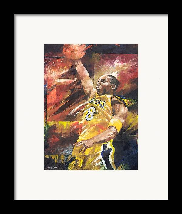 Sports Framed Print featuring the painting Kobe Bryant by Christiaan Bekker