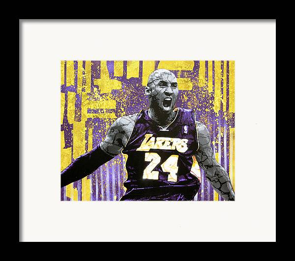 Kobe Framed Print featuring the painting Kobe The Destroyer by Bobby Zeik