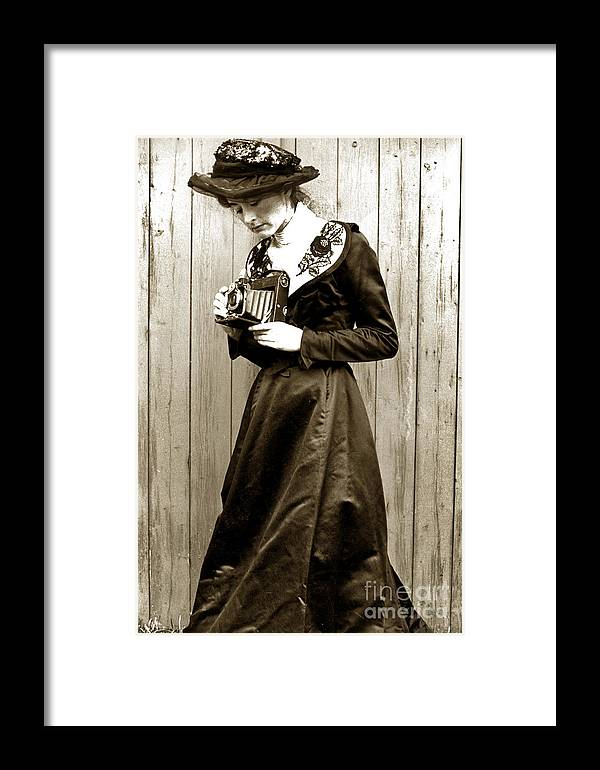 Vintage Framed Print featuring the photograph Kodak Girl With A Folding Camera Circa 1918 by California Views Archives Mr Pat Hathaway Archives