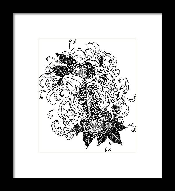 1dcdd0209 Art Framed Print featuring the drawing Koi Fish And Chrysanthemum Tattoo By Hand  Drawing by Tuleedin