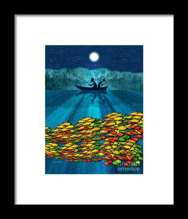 Fishing Framed Print featuring the digital art Kokopelli Fishing by Chris Rhynas