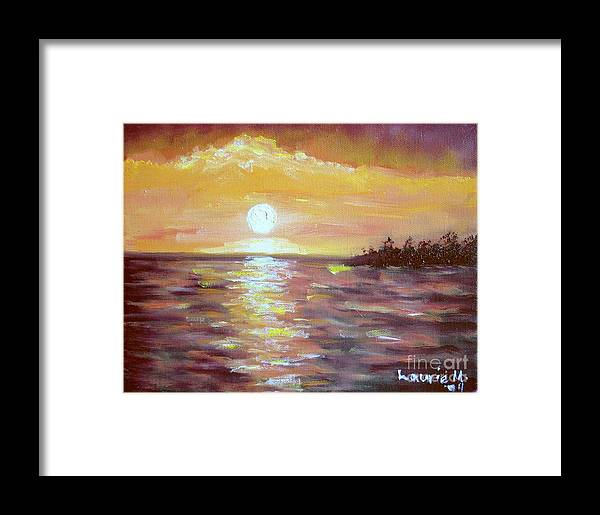 Sunset Framed Print featuring the painting Kona Sunset by Laurie Morgan