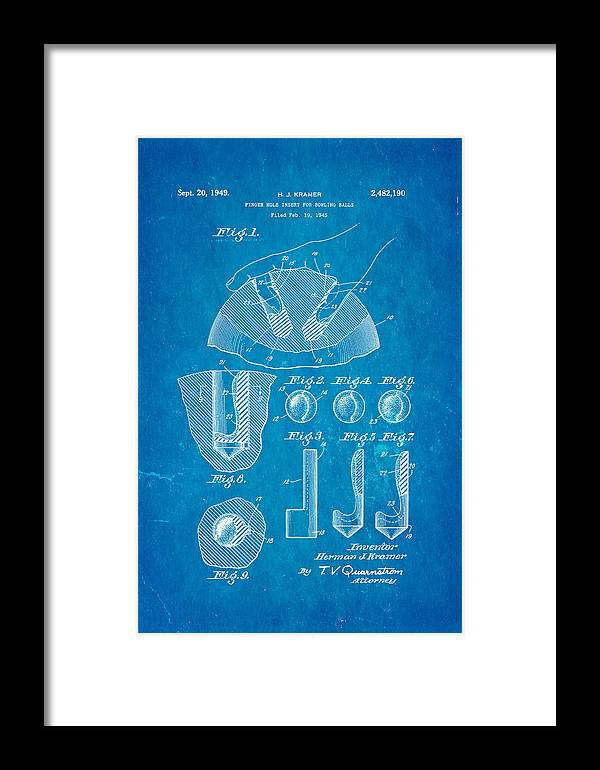 Famous Framed Print featuring the photograph Kramer Bowling Bowl Finger Hole Insert Patent Art 1949 Blueprint by Ian Monk