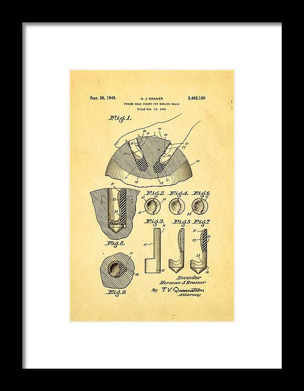 Famous Framed Print featuring the photograph Kramer Bowling Bowl Finger Hole Insert Patent Art 1949 by Ian Monk