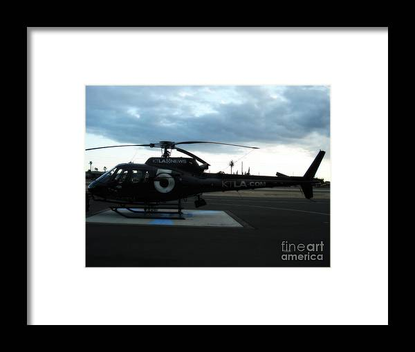 Ktla Helicoptor Framed Print featuring the photograph KTLA helicoptor by De La Rosa Concert Photography