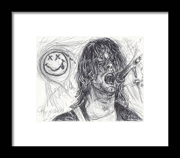Kurt Cobain Framed Print by Michael Morgan