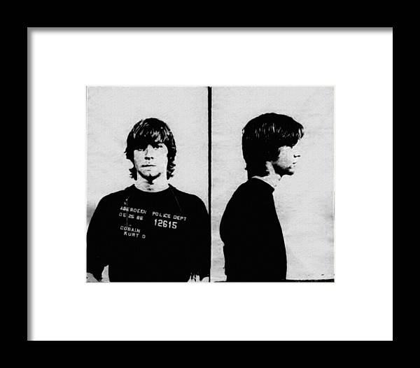 Kurt Cobain Mugshot Framed Print by Bill Cannon
