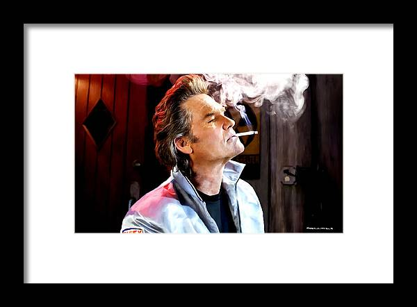 Death Proof Framed Print featuring the digital art Kurt Russell @ Death Proof by Gabriel T Toro