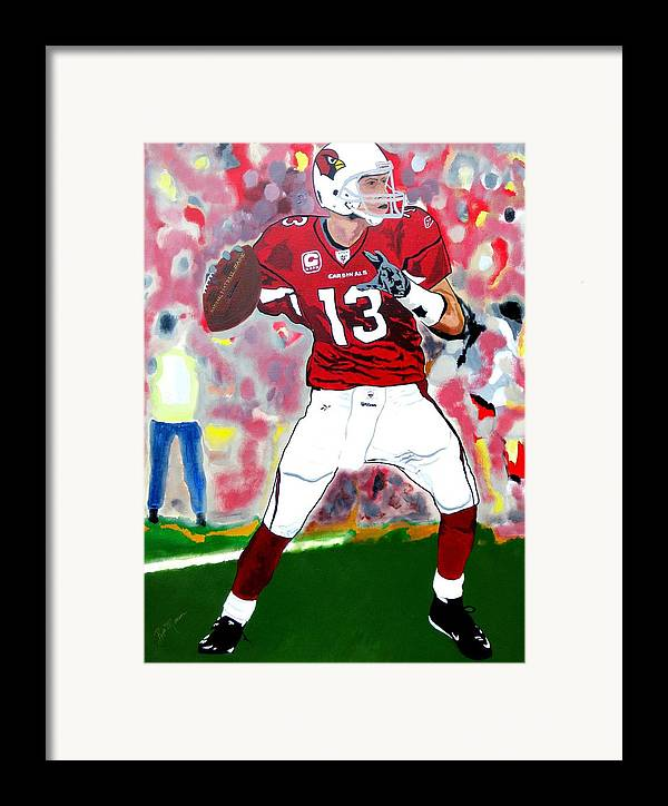 Kurt Warner Paintings Framed Print featuring the painting Kurt Warner-in The Zone by Bill Manson