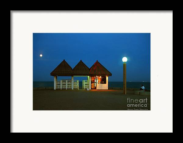 Pier Framed Print featuring the photograph Kuwaiti Pier Snack Bar At Dusk by Lawrence Costales