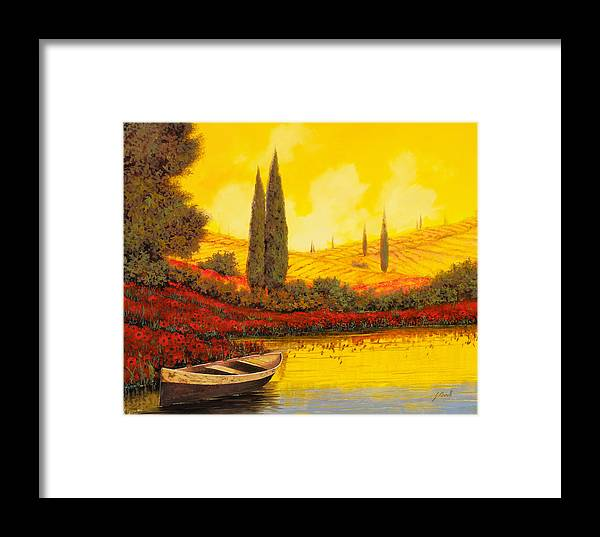 Sky Yellow Framed Print featuring the painting La Barca Al Tramonto by Guido Borelli